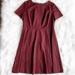 Talbots Maroon Wool Fit & Flare Dress D1481